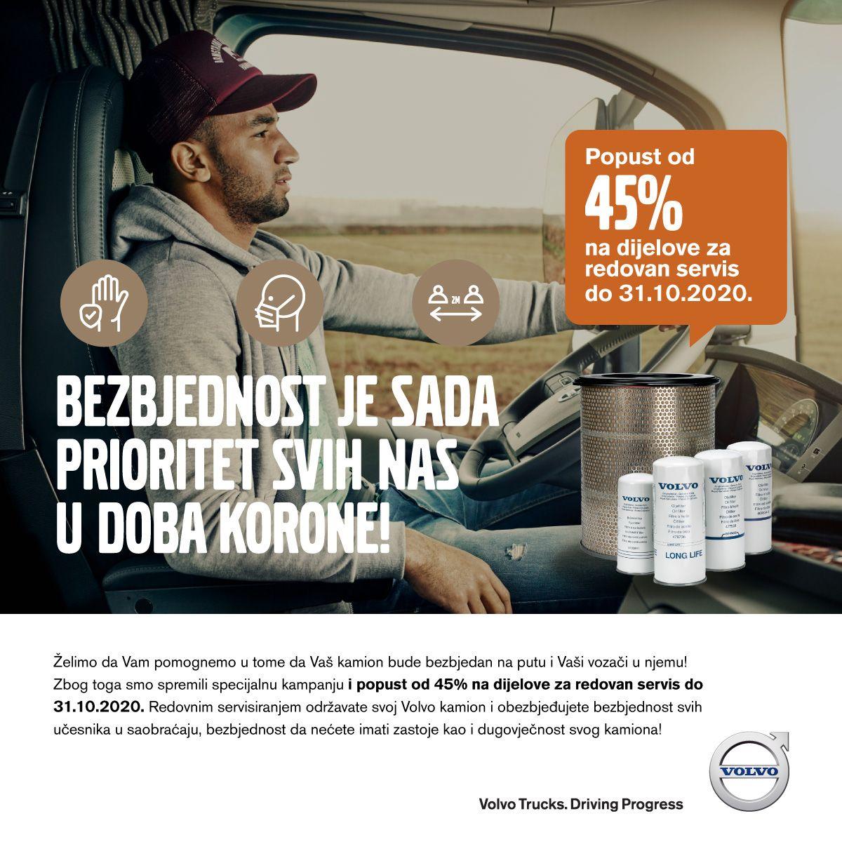 Volvo Trucks u BiH na delove za redovan servis odobrava popust do 45 posto
