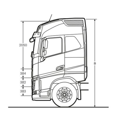 Volvo FH specifications cab sideview illustration