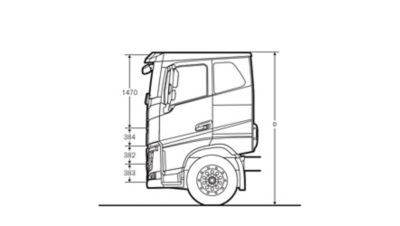 Volvo FH specifications low sleeper cab sideview illustration