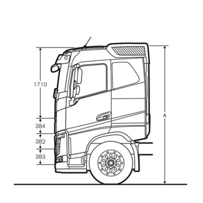 Volvo FH specifications sleeper cab sideview illustration