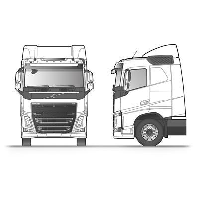 Volvo FH 臥舖型駕駛艙草圖