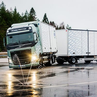 Volvo FH safety stretch brake on the road