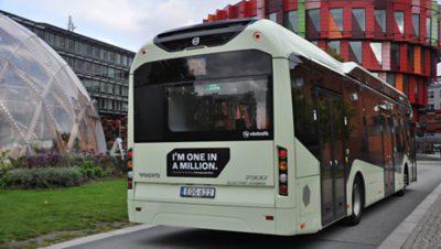 Volvo bus driving into Lindholmen Science Park in Gothenburg, Sweden
