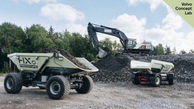 Two HX1 prototype vehicles, an autonomous, battery-electric loadcarrier