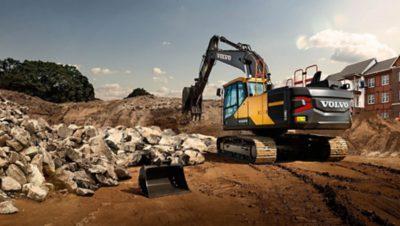 A Volvo excavator