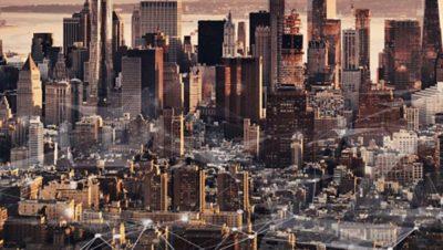 Skyline shot of New York in the evening sun
