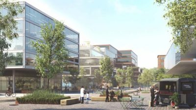 Visionsbild från Volvo Group Sverige av en gågata på Campus Lundby