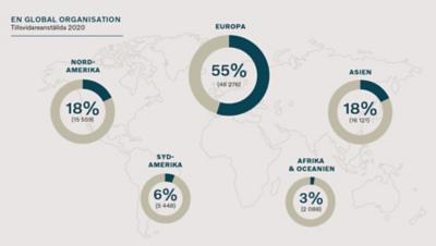 Världskarta på fördelningen av Volvo anställda