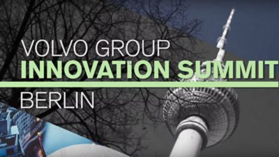 Promotional image for the Volvo Group Innovation Summit Berlin with the Berliner Fernsehturm in the background