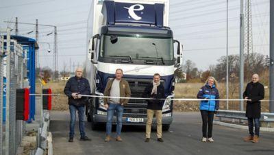 Ekdahl Miljö, Volvo Lastvagnar och Gasum inviger den nya tankstationen för flytande gas hos Volvo Truck Center, Malmö.