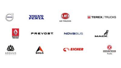 Логотипы портфеля брендов Volvo Group