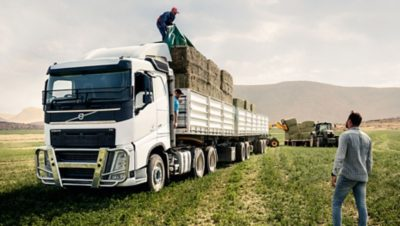 A Volvo truck on a field