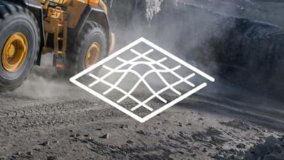 Weiße Illustration einer Geländeansicht über einem Baufahrzeug der Volvo Group an einem Schürfplatz