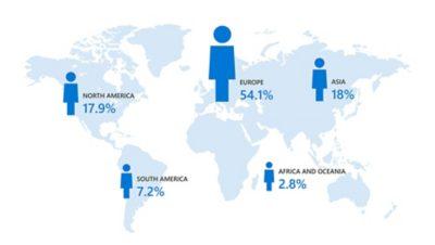 Un mapa mundial que muestra la distribución de los empleados de Volvo Group