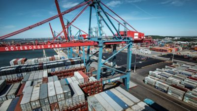 Overhead shot of containers at Gothenburgs dock
