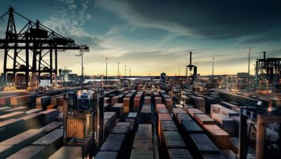 Harbour filled with hundreds of containers