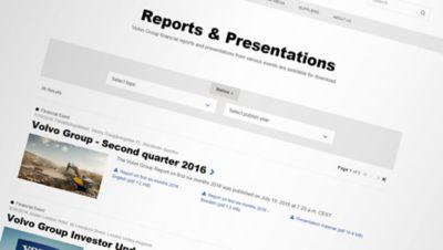 Computer screenshot of Volvo Groups website: Reports & Presentations
