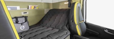 The bunk in the Volvo FH cab