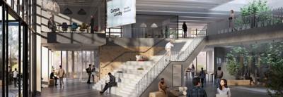 Visionsbild från Volvo Group Sverige av en lobby i en lokal på Campus Lundby