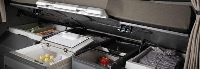 Interior storage boxes in the Volvo FH cab