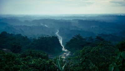 A Volvo Group truck driving on a serpentine road running through a big forest