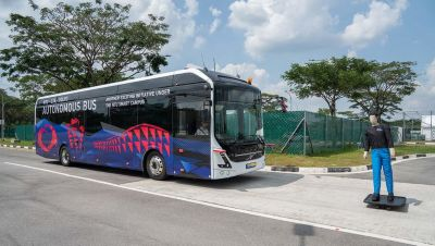 The bus is equipped with four Lidar sensors which enables it to detect and stop for objects coming in its way.
