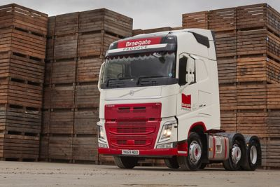 Braegate Produce has taken delivery of its first Volvo truck - a new FH 500 hp 6x2 tractor unit