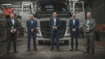 Left to right: Steve Wilson, Mark Cunnew, Steve Kenyon, Jim Murray and Chris Schofield, of Thomas Hardie Commercials' management team, proudly pose with the Volvo Trucks UK & Ireland's 'Dealer of the Year' trophy