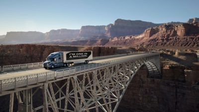 """Volvo truck with the message """"I'm one in a million"""" on its payload, driving on bridge in San Diego, USA"""
