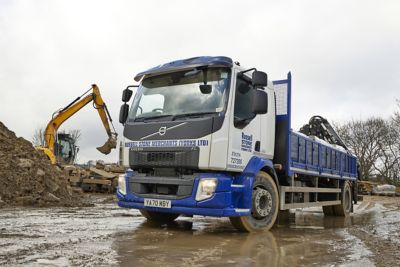 Russell Stone Merchants has taken delivery of its first ever Volvo truck – a new crane-equipped 4x2 Volvo FL rigid