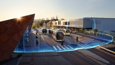 Volvo buses with digital effects added representing the different connectivity and safety solutions Volvo Group develops