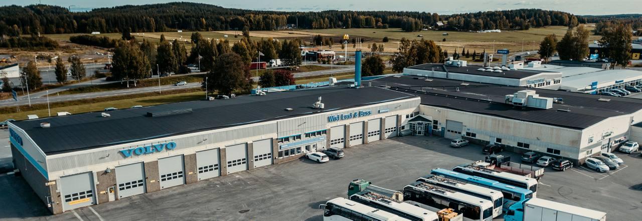 Flygbild över vår verkstad i Skellefteå.