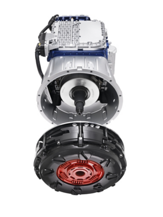 The front of the I-Shift Dual Clutch. Despite many new components, the new gearbox is just 12 cm longer than a regular I-Shift unit.