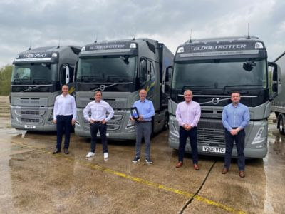 Left to right: The team from Thomas Hardie Commercials receiving the award - Steve Kenyon, Christian Coolsaet (Managing Director of Volvo Trucks UK and Ireland), Jim Murray, Mark Cunnew and Steve Wilson.