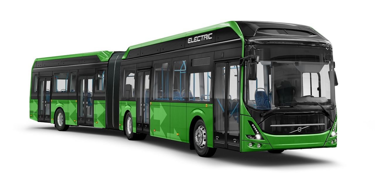 A green Volvo 7900EA