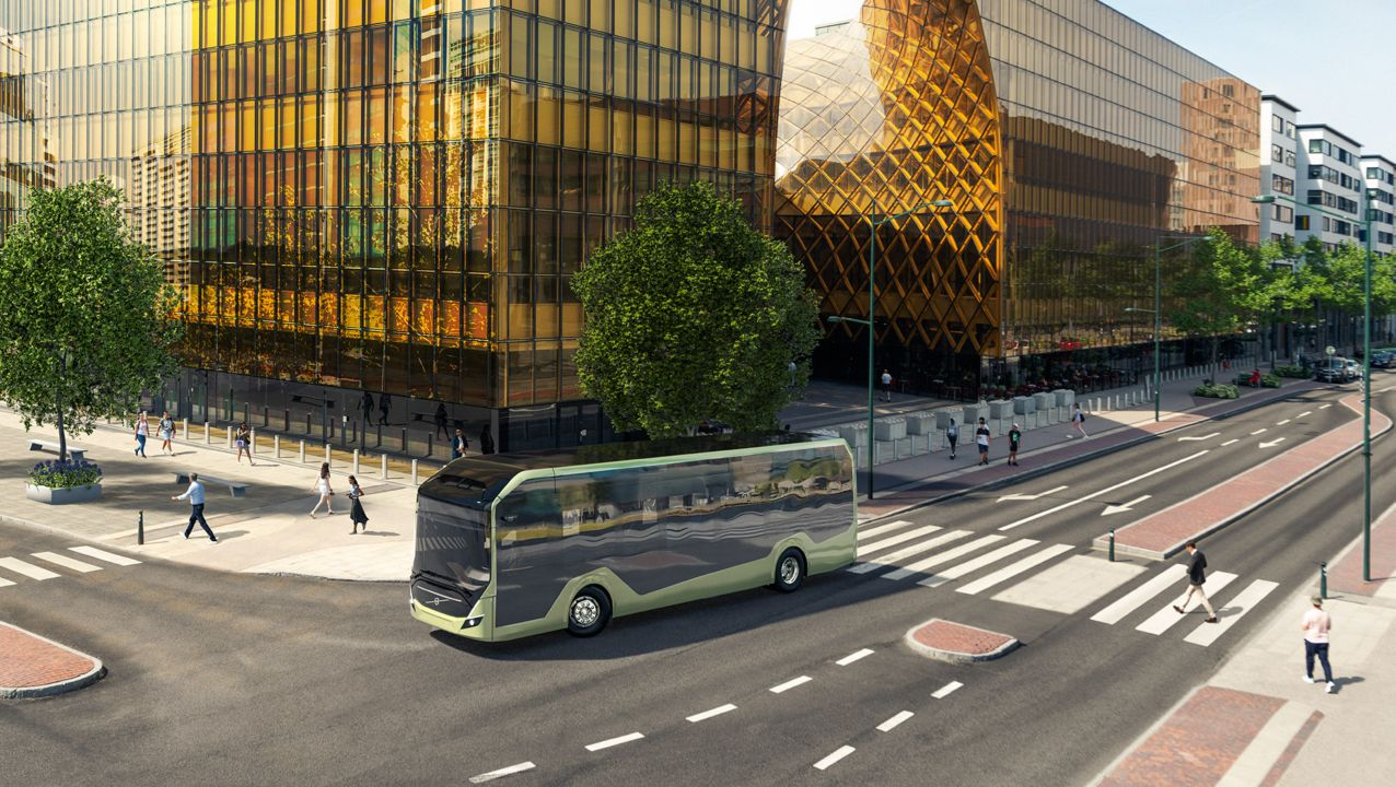 A Volvo BZL Electric bus on the road in a city location