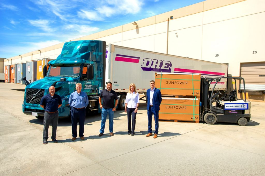 Volvo Trucks Customer Dependable Highway Express to Transport SunPower Solar Products Using VNR Electric Fleet