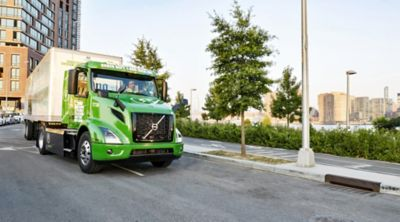 Manhattan Beer Distributors' Volvo VNR Electric out for a morning customer delivery in Long Island City in Queens, New York.