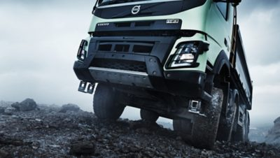 Volvo FMX all wheel drive lower front gravel road