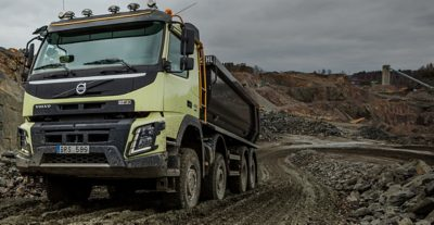 Volvo FMX automatic traction control gravel pit
