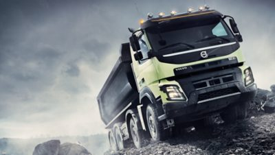 Volvo FMX automatic traction control grey sky