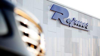 Rejmes logotyp fasaden i Norrköping