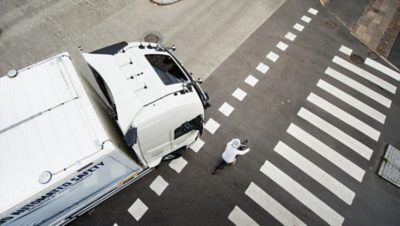Volvo trucks global about us csr cyclist truck from above
