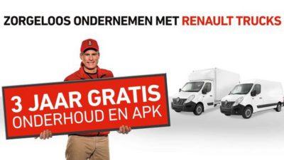 3 jaar gratis onderhoud en APK op alle Renault Trucks Master-modellen