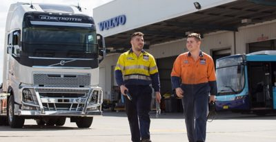 Diesel Mechanic at work on Volvo Trucks and Buses