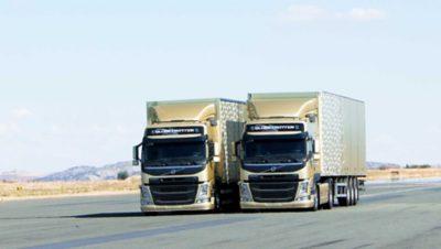 Volvo FM dynamic steering two trucks on road