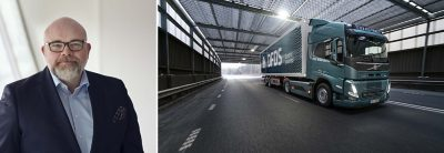 A DFDS-branded Volvo truck on the road