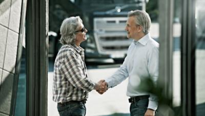 Volvo financing trucks handshake