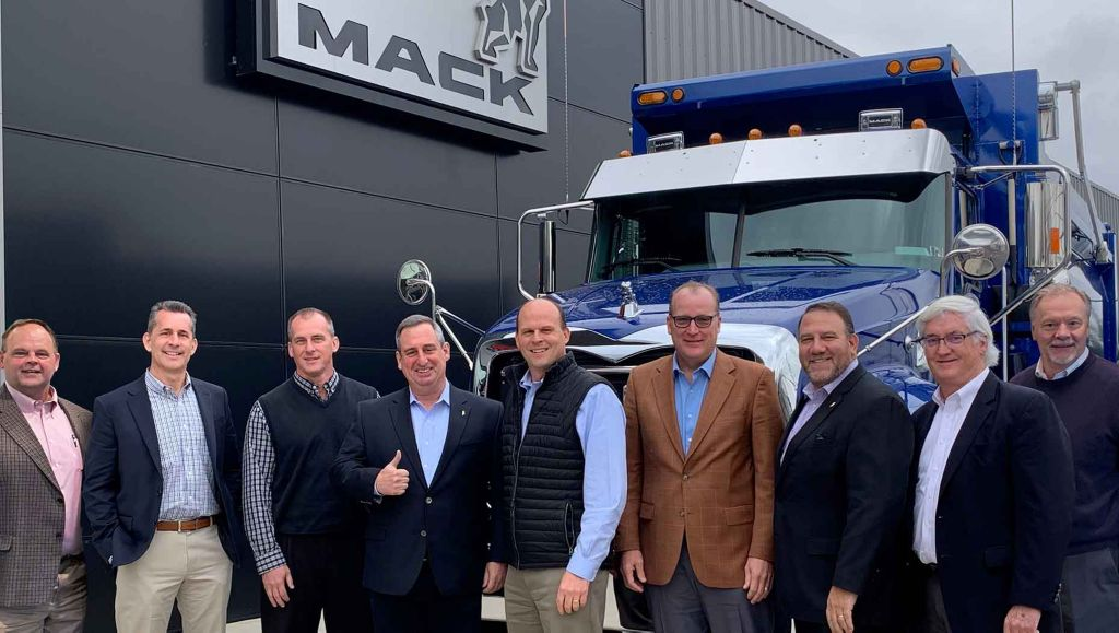 (Photo from 2019) Bergey's Truck Centers of Pennsauken, New Jersey, is the Mack Trucks 2020 North American Dealer of the Year. Mack named Bergey's the winner virtually during the Mack annual dealer meeting. Pictured left to right in the 2019 photo are Bill Schenck, director of heavy-duty truck sales, Stephen Rybacki, director of medium-duty truck sales, Dave Schlosser, vice president of commercial operations, Martin Weissburg, president of Mack Trucks, Mark Bergey, CEO of Bergey's Truck Centers, James Gavaghan, president, Jonathan Randall, Mack Trucks senior vice president of North American sales and commercial operations, Pat Meehan, sales manager, Richard Ciesielka, vice president of lease/rental and remarketing.