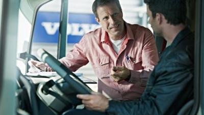 Volvo trucks managing fuel advice two men cab